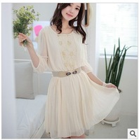 Free shipping 2013 summer new chiffon sashes tunic button brand o-neck knee-length ladies' dress women' fashion casual dresses