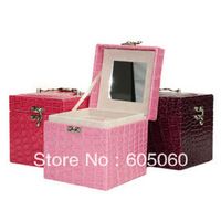 Advanced PU jewelry storage box cosmetic box Free shipping
