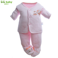 Free shipping Wholesale new 2013 thermal baby set autumn and winter thick newborn pack the overalls clothing set