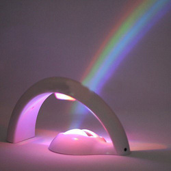 Free Shipping Lucky Rainbow 5-LED Amazing Rainbow Projector Two-Way Powered Table Lamp Accent Night Light(China (Mainland))