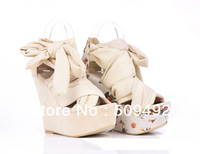 2013 New Women's Spring Summer Silk Tie Sexy Wedges Open Toe Pumps Sandals 2 Colors 7 Size Free Shipping