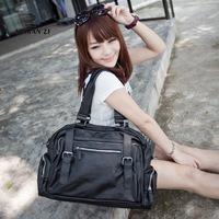 free shipping Women's lather-bag female large capacity shoulder bag messenger bag solid color 14 notebook bag