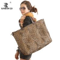 free shipping 2013 leopard print shoulder bag plush bag fashion shopping bag