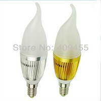 Factory direct sale 10pcs/lot 3W/5W E14 AC 85-265V LED Candle Light lamp led frosted shell cream bulb Free shipping