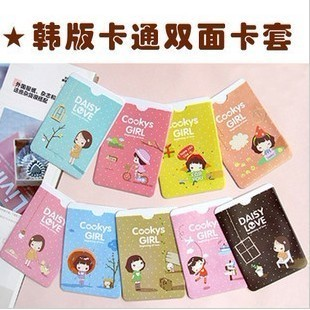 Small fresh female simple card case card case card holder documents double faced bus card sets