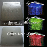 "12"" round water saving automatic temperature control led shower for bath"