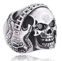 High-end punk gothic retro titanium mens rings stainless steel retro music skull ring men big promotion
