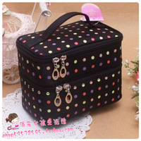 Black dots double layer portable cosmetic bag cosmetics Medium