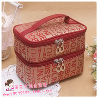 Excellent red letter double layer l portable cosmetic bag cosmetics Medium
