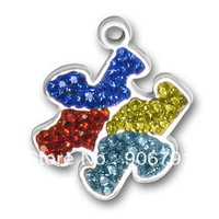 free shipping 10pcs a lot wholesale puzzle piece charms with multicolor crystal jewelry