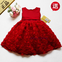 Free shipping new children's clothing flowers short-sleeve baby girls dresses wedding/ evening/party dress for 1-9 year old