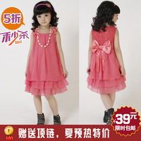 Retail Free shipping 2013 Summer new kids dresses,children dresses,girl's bowknot chiffon dresses