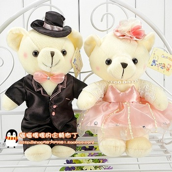 Wedding car plush doll wedding dress teddy bear lovers wedding gifts