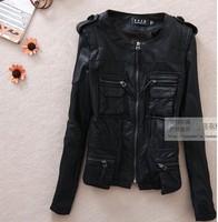 2013 street fashion o-neck slim black jacket multi-pocket leather clothing high quality motorcycle short