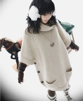 Free Shipping 2013 bat sweater outerwear thickening loose plus size sweater long design pullover sweater female sweater