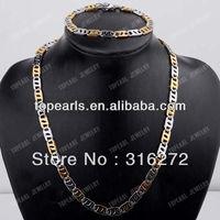Topearl Jewelry Two Tone Figure-8 Stainless Steel Jewelry Set, Necklace & Bracelet SSJ69