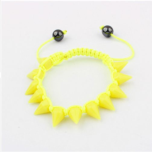 Min.order is $15 (mix order)~The Korean Color Woven Studs Bracelet (Yellow)~ 95115(China (Mainland))