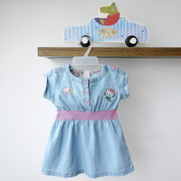 2013 the summer short-sleeve dress for baby girls 100% soft cotton thin denim dresses