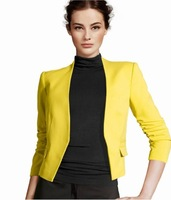 business dress style 2013 slim outerwear women's candy color blazer outerwear coat new design no button jacket