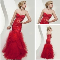 Free Shipping Sexy Red Mermaid Appliques Sweethesrt Tulle Evening Dress 2013 Gown Custom Size/Color Wholesale/Retail