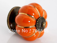 Free shipping Ceramic Door Cabinets Pumpkins Knobs Handles Pull Drawer(Orange, 40mm)+wholesale
