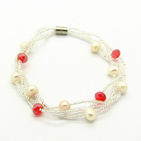 New Style Bracelet&Bangles Jewelry Fashion Design Freshwater Pearl Beads Wholesale Magent Clasp Bracelet Free Shipping HB602