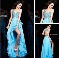 Free Shipping Charming Blue One Shoulder Beading Chiffon Evening Dress Prom Gowns Custom Size/Color Wholesale/Retail