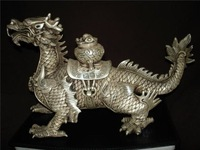 Rare Ming Dynasty(Xuande:1538-1562) Silve unicorn statue/ Sculpture,free shipping