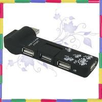USB 2.0 4 Ports Hub Power LED For PC 480mbps Black