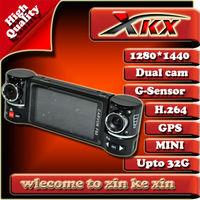 Freeshipping Original Edition F60 GS50 High Quality Dual lens Car Dvr HD 1280*1440 30fps 2.7inch 120 Anlge With GPS Black Box