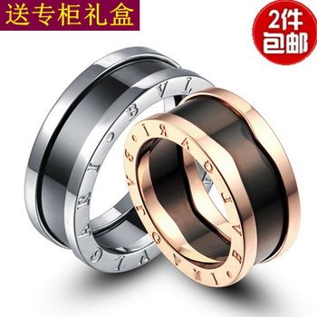 Titanium rose gold ring golden single-circle ceramic ring lovers ring a pair of female