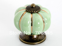 Free shipping Ceramic Door Cabinets Pumpkins Knobs Handles Pull Drawer(Green, 40mm)
