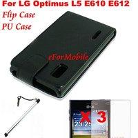 Flip PU Case Mobile Phone Case+Screen Protector + Mobile Phone Pen  For  LG Optimus L5 E610 E612