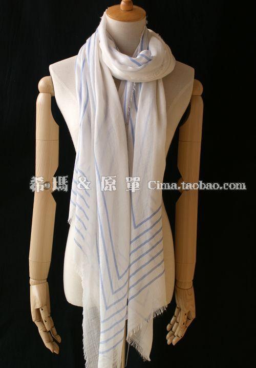 Fashion french connection elegant blue and white super large scarf female(China (Mainland))