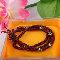 A+++ Quality 216*3mm Genuine Oval Lobular Rosewood Beaded Bracelet Oval lobular red sandalwood beades&alloy Buddha beads malas