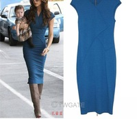 2013 Women&#39;s Ladies Victoria Beckham style Body Fitting Cotton women Mid-calf Dress Plus Size Pencil Bandage Dresses S-XL