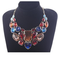 New 1PC /Lot , Fashion Golden Chain Colorful Resin Rhinestone Bib Bridal Pendant Necklace Jewelry  321027