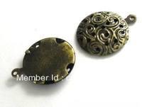 bijouterie Retro Style Antique Bronze Alloy Flat Base brooch Pendants DIY Jewelry Findings Accessories-20MM strass