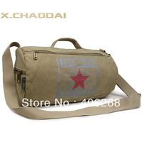 free shipping Fashion cylinder canvas men's shoulder bag casual handbag messenger bag  gym travel bag