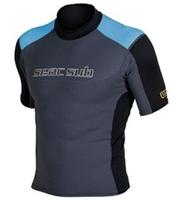 Seac Sub Black/ Blue Rash Guard RAA Short Sleeve Male