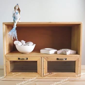 Solid wood double glass drawer storage cabinet desktop storage locker display cabinet