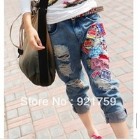 Free shipping!! 2013 summer women loose distrressed retro applique jeans , boyfriend jeans for women