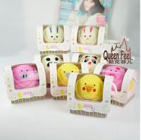 Creative 100% cotton Cartoon Animal cake towel creative gifts 10pcs/lot  free shipping