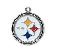free shipping (Can be Mixed) sport enamel Pittsburgh Steelers football team logo charms jewelry accessory 50 pcs a lot