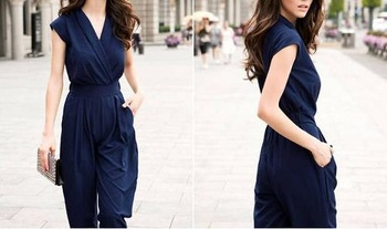 1pcs Casual Trendy Womens V-neck Overall Rompers Jumpsuit Wide-leg Pants Trousers 70619-70627