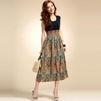 2013 New Arrival Fashion Women Long Print Floral Patchwork Summer Dress Sleeveless Chiffon Blue Orange Dresses Free Szie