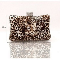 PU LEOPARD Woman Bag ,leather Clutch Handbag , 2012 Fashion Evening Bag With shoulder Chain Free Shipping EB063a