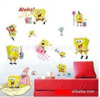 FREE SHIPPING wholesale 5pcs/ lot Sponge Bob Kids Room Carton Wall Stickers Removable Home Wall Decor