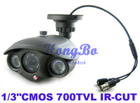 "700TVL 1/3""CMOS  IR-CUT Filter 6mm 2 Array Lamps Outdoor Waterproof Security CCTV Camera ,with Bracket Free shipping"