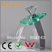 Free Shipping+Waterfall LED Faucet for Bathroom Basin QH0819HF
